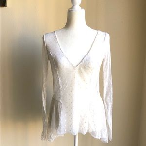 Intimately Free People Ivory Swiss dot top